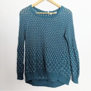Anthropologie Moth Teal Honeycomb Knit Sweater